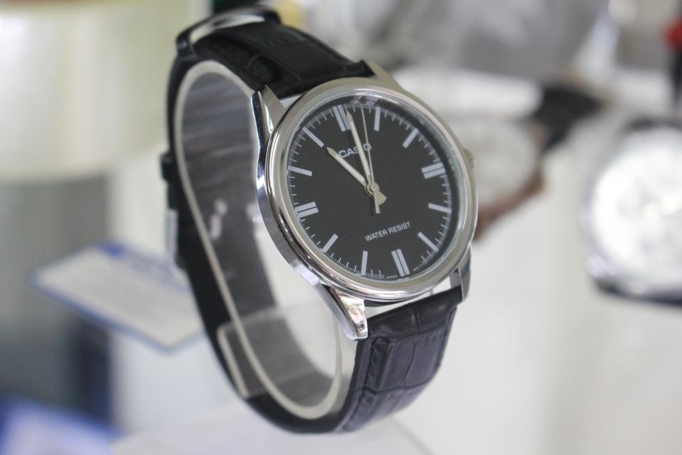 Đồng hồ Casio MTP-V005L-1AUDF nam giá rẻ dây da màu đen