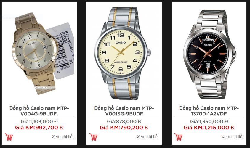 Hình ảnh một số mẫu đồng hồ nam giá rẻ Casio