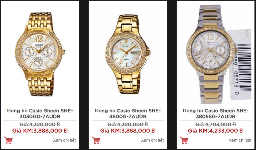 Những mẫu và giá đồng hồ nữ Casio Sheen sang trọng và đẳng cấp