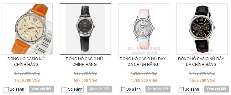 Một số mẫu đồng hồ nữ dây da Casio