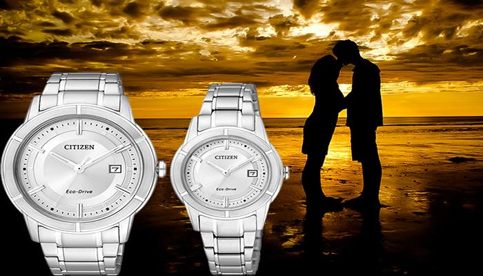 đồng hồ citizen màu trắng đôi dễ thương
