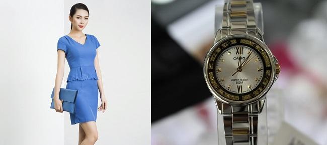 Cách phối đồng hồ nữ Casio với thời trang công sở