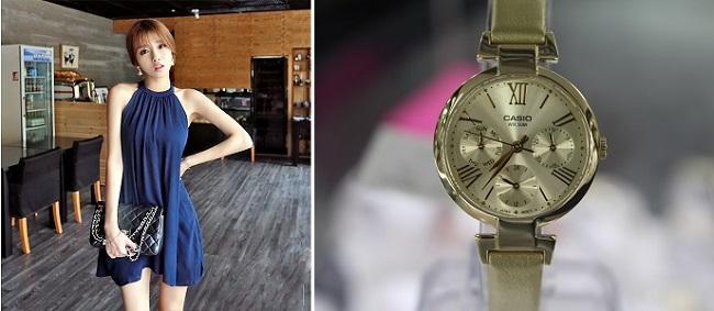 Phối đồng hồ nữ Casio với thời trang nhẹ nhàng, nữ tính