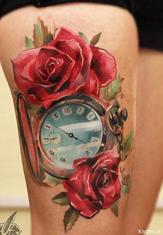 ý nghĩa hình xăm hoa hồng và đồng hồ