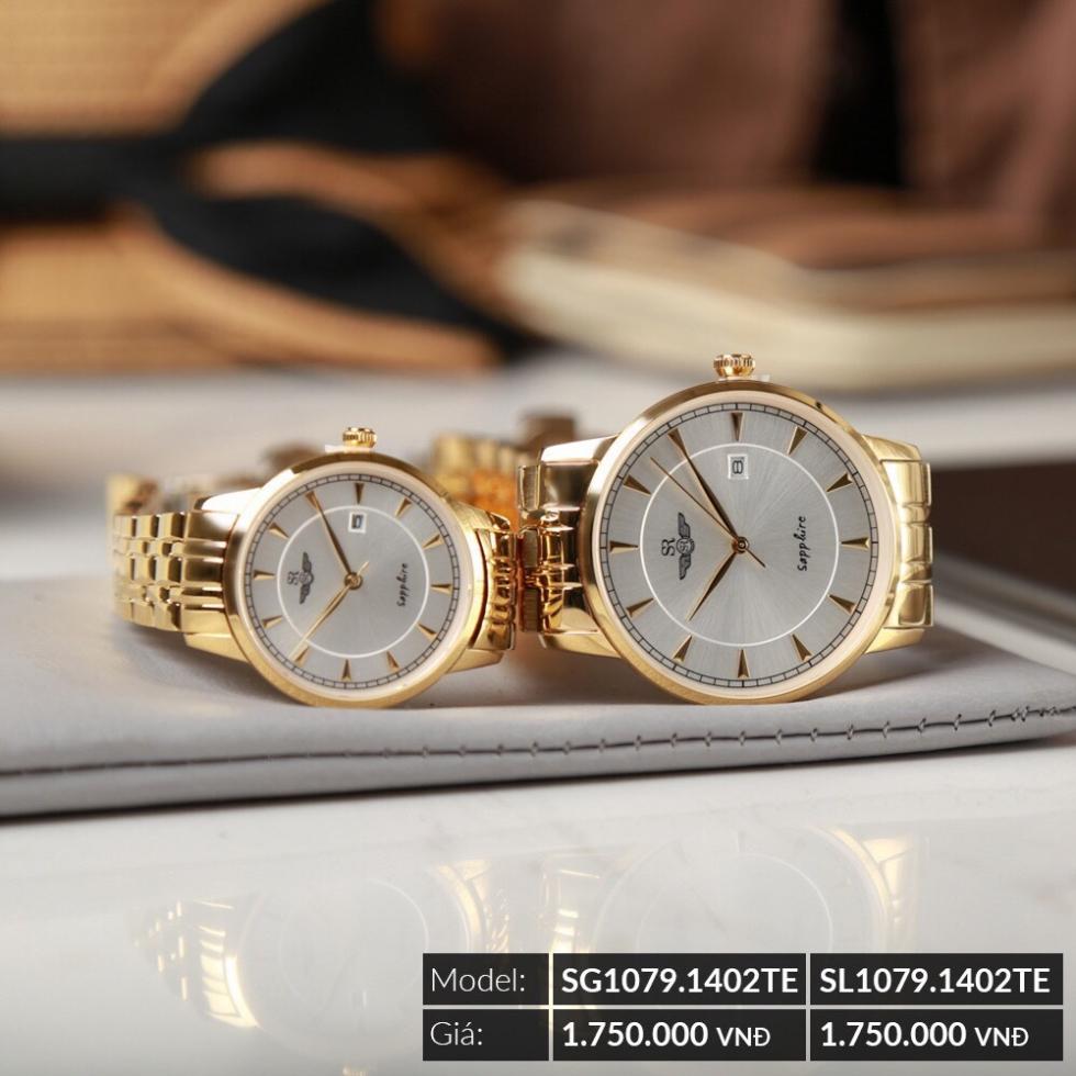 đồng hồ cặp nam nữ mạ vàng