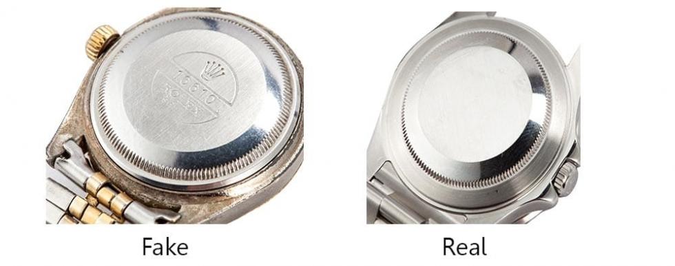 Khác biệt giữa mặt lưng của đồng hồ Rolex xịn và hàng Fake