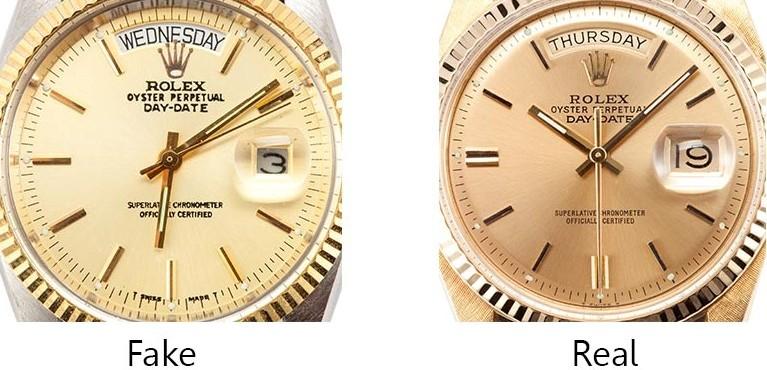 Sự khác biệt về ô chỉ ngày của đồng hồ Rolex chính hãng và Fake