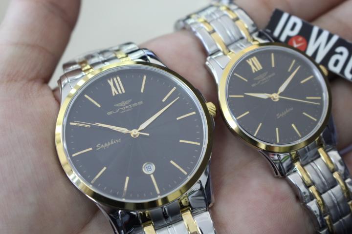 Kết quả hình ảnh cho Cặp đồng hồ đôi Sunrise SG.SL9001.1201