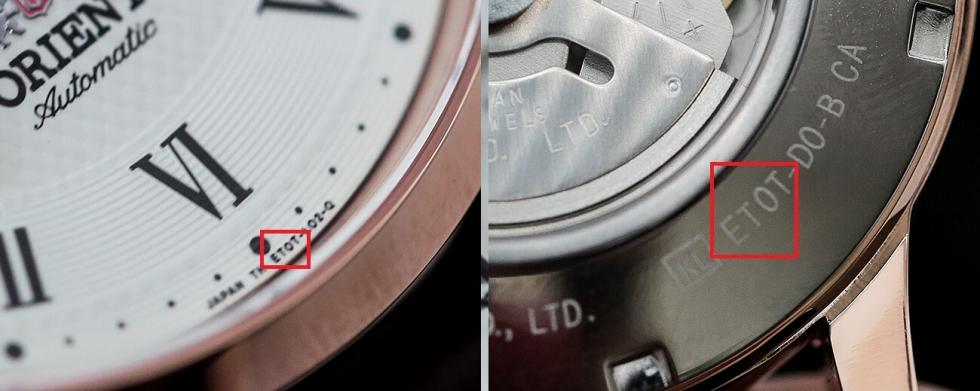 đồng hồ Orient chính hãng, 4 (số + chữ) đầu của case code (mặt sau) và 4 (chữ + số) ở trên vành vị trí 6h phải trùng nhau