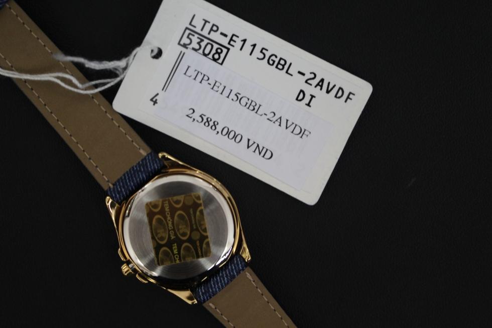Tem và phiếu bảo hành của đồng hồ Casio mặt xanh LTP-E115GBL-2AVDF